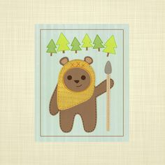STAR WARS EWOK- Kids art, Nursery art, Playroom art, Childrens Art. $14.00, via Etsy.