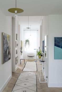 Hall / landing in with beni Ourain rugs in a magical artist's home.  JJ Locations.