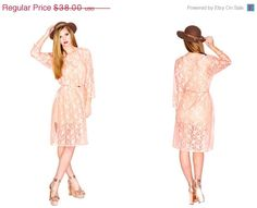 HOLIDAY SALE Long Sleeve Sheer Rose Lace Dress with high side slits on Etsy, £19.04