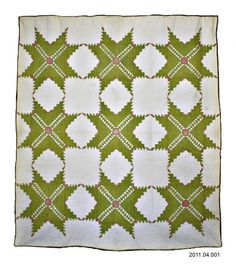 """Feathered Star Quilt, 1880. Estate of Anna Kurtz Gray.  LaConner Quilt Museum.  There are nine 22.5"""" blocks; each block has 205 pieces"""