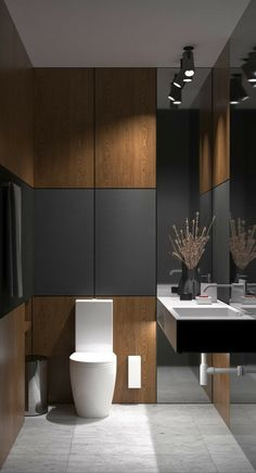 Akhunov Architects, The design of the guest bathroom solution without the use of. - Akhunov Architects, The design of the guest bathroom solution without the use of wall tiles, decora - Bad Inspiration, Bathroom Inspiration, Bathroom Ideas, Bathroom Plans, Bathroom Grey, Bathroom Marble, Master Bathroom, Bathroom Toilets, Bathroom Layout