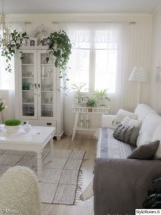 The basic layout. Console table under window. Home Living Room, Living Room Decor, Scandinavian Living, White Rooms, Home Hacks, Living Room Inspiration, Shabby Chic Decor, Home Interior Design, Family Room