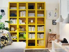 BILLY bokhylla 80 x 202 x 28 cm, gul, 995 kr, här i två sektioner,