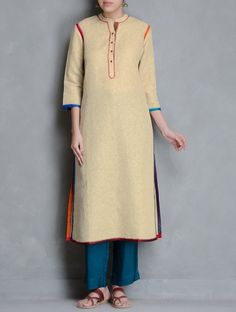 Buy Beige Multi Color Embroidery Detail Cotton Linen Kurta by Kora Apparel Tunics & Kurtas Navrang Embroidered Upcycled Pants Capes More Online at Jaypore.com
