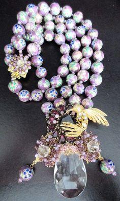 Stanley Hagler Drop Dead Gorgeous Venetian Glass Crystal Prism Bird Necklace | eBay