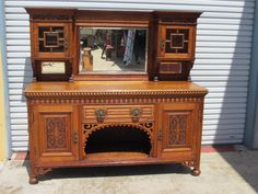 English Antique Sideboard Server Cabinet Hutch Cupboard Antique Furniture
