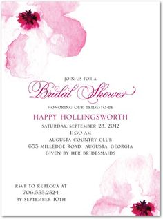 Signature White Textured Bridal Shower Invitations Gallery Floral - Front : Sassy