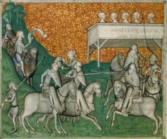 Ritter beim Tjosten, BNF Français 1586 Works of Guillaume de Machaut, fol. 56v, 1350-1355, Paris.