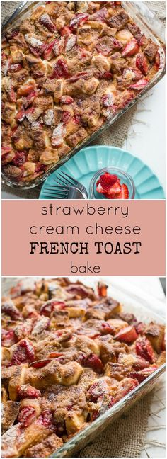 Strawberry Cream Cheese French Toast Bake - Smells Like Home Make yourself the hero of your house this weekend with this strawberry cream cheese French toast bake. Who knew that stale bread and those almost moldy strawberries would get you so far in life? Crockpot French Toast, Healthy French Toast, Strawberry French Toast, Baked French Toast Casserole, Banana French Toast, Pumpkin French Toast, Overnight French Toast, French Toast Bake, Cream Cheese Breakfast