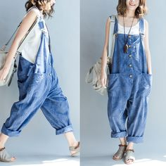 Overalls & jumpsuits - frauen lose beiläufige gedruckte overall - ein designerst Chic Outfits, Fashion Outfits, Moda Boho, Moda Vintage, Boho Fashion, Fashion Design, Hippie Style, Korean Fashion, Vintage Outfits