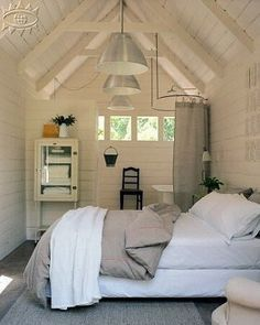 48 Elegant Small Attic Bedroom For Your Home. It's not always easy to decorate the attic bedroom so you are going to need a plan before you begin. Tiny Guest House, Shed To Tiny House, Guest Cabin, Tiny House Living, Tiny House Design, Shed Guest Houses, Shed Into House, Small Guest Houses, Guest House Cottage