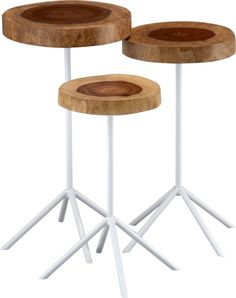timber side tables set of 3 in view all furniture | CB2 - I want these for my living room