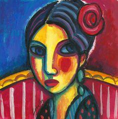 Flamenca con rosa en el pelo, 2014  Gouache sobre papel, 18x18 cm  Guillermo Martí Ceballos