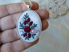 This one necklace is hand embroidered and hand-painted. Ready for shipment. Do you need more necklaces? - I can make every number of necklaces for your bridesmaids. Time to make more - than 10 days. Pendant size: 50x32mm / 1,97x1,26 Chain Length: ..... cm / 20 (default, I can