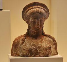 Terracotta and Pigment Bust of a Woman, Greek made in Centurioe in Sicily, 300-200 BC, Getty Villa, Malibu, California, USA