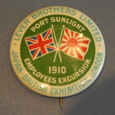 Lever Brothers Limited of Port Sunlight, Employees Excursion badge for the Japan (Japanese) British Exhibition 1910