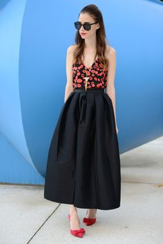 lip print top and black full skirt on M Loves M @marmar