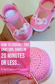 How to Crochet this Baby Girl Shoes In 20 Minutes or Less Crochet baby shoes always looks very beautiful and lovely. Today you have a chance to make adorable baby girl shoes in 20 minutes or less and keep your babys tiny feet warm and comfortable. Booties Crochet, Crochet Shoes Pattern, Baby Shoes Pattern, Crochet Baby Sandals, Knit Baby Booties, Crochet Slippers, Crochet Patterns, Crochet Hats, Crochet Toddler