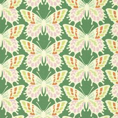 """PWHB055.JADEX Heather Bailey Clementine Flutterby Butterfly Jade Quilting 18"""" BTHY Rowan Westminster Half Yard 18"""" Quilt Fabric HY Floral by KinshipQuilters on Etsy"""