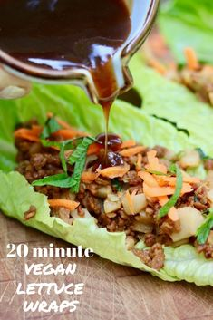 These Vegetarian Lettuce Wraps are fresh and crispy with an umami flavoured meaty vegan filling and a delicious and simple asian plum dipping sauce. Easy ingredients, ready in 20 minutes or less! Lettuce Wrap Sauce, Vegetarian Lettuce Wraps, Vegan Lettuce Wraps, Vegan Wraps, Healthy Wraps, Vegan Tacos, Wrap Recipes, Vegan Recipes Easy, Whole Food Recipes