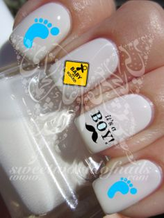 Pregnancy Nail Art Its A boy /Girl Water Decals Transfers Wraps