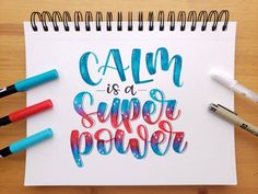 Calm is a superpower — Letters By Gigi Calligraphy Quotes Doodles, Brush Lettering Quotes, Brush Pen Calligraphy, Calligraphy Words, Hand Lettering Tutorial, Hand Lettering Quotes, Lettering Design, Modern Calligraphy, Lettering Styles