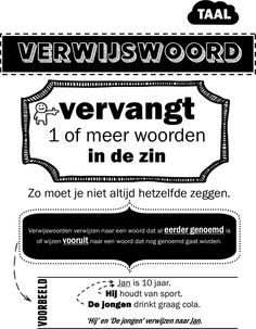 Overzicht verwijswoord Foreign Language Teaching, Dutch Language, Speech And Language, Close Reading, School Posters, Home Schooling, Primary School, Fun Learning, Spelling