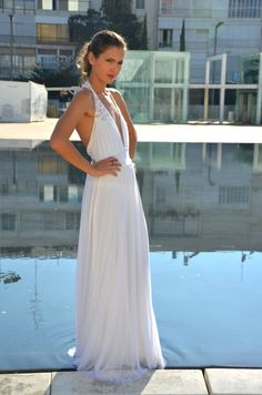 Romantic wedding dress low back with embroidary by Barzelai, $350.00