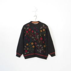 Floral Embroidered Sweater * Vintage Wool Pullover * Crewel Embroidery * Medium - Large on Etsy, $42.00