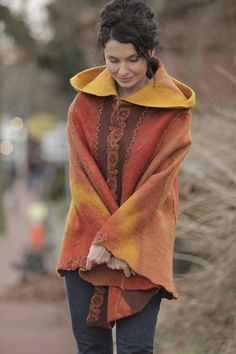 Poncho Autumn Legends by irenalevkovich on Etsy, $600.00
