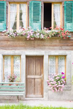 Alpine House in lauterbrunnen, Switzerland, love the shutters and window boxes! Architecture Baroque, Beautiful Homes, Beautiful Places, Beautiful Buildings, Alpine House, Window Boxes, Window Sill, Windows And Doors, The Places Youll Go