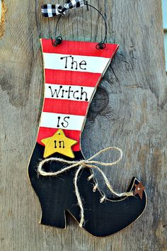 Halloween Wooden Witches Shoe