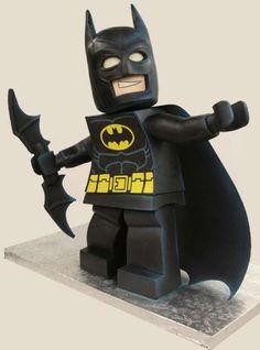 This Lego Batman would be impressive if it was just made of cake. It looks exactly like Lego Batman. it's three feet tall! Batman Em Lego, Lego Batman Cakes, Batman Party, Batman Birthday, Lego Birthday, Superhero Party, Minion Cakes, Birthday Cakes, Lego Superhero Cake