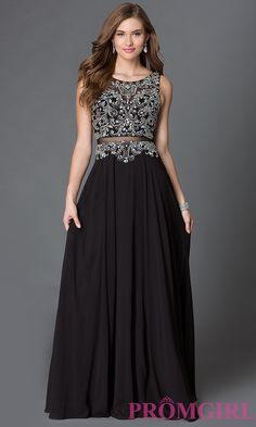 Image of long illusion mock two piece dress with jeweled detailing Front Image