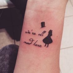 "Alice in Wonderland Tattoo / ""we're all mad here"" #madhatter #aliceinwonderland #tattoo"