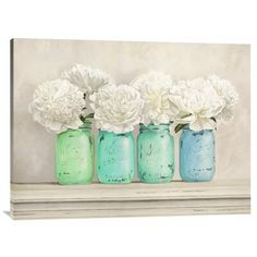 East Urban Home 'Peonies in Mason Jars' Framed Oil Painting Print Size: Painting Frames, Painting Prints, Canvas Prints, Mason Jar Crafts, Mason Jars, Floating Shelves Diy, Painted Jars, Teal And Gold, Contemporary Artwork