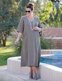Plus size Kasbah slate, hot pink or bluebell linen soft v neck dress (CB 51
