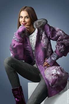"""Великолепное валяное пальто """"Вечер в Париже"""" — работа дня на Ярмарке Мастеров  #felting"""