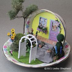Make a Printable Miniature Arched Garden Arbor in Dollhouse Scales