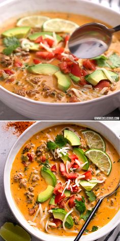 Nov 2019 - Low carb and keto-friendly Creamy taco soup is warm and comforting. It's packed with veggies and topped with fresh avocado and lime juice and is the perfect way to enjoy tacos without the added carbs! Low Carb Taco Soup, Low Carb Tacos, Keto Soup, Keto Taco, Vegan Soup, Low Carb Soups, Low Sodium Soup, Vegan Risotto, Low Carb Keto