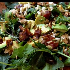 Made this the other day and it's def. a fav: baby kale, arugula, avocados, goat cheese dates, toasted pumpkin seeds, crumbled date & almond crisps with homemade balsamic vinaigrette.