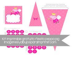 Decoración de fiesta de cumpleaños de #peppapig banderines, invitación, letras, cajas,etiquetas,decoración de mesa,decoración cupcakes #imprimibles #gratis