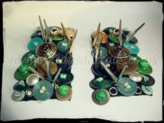 Green Based Epaulettes....Handmade using Vintage Buttons (By @Ooh Outre)