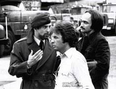De Niro, Cimino and Cazale on the set of Deer Hunter.