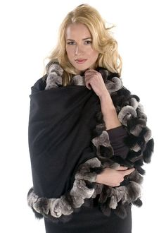 A lovely black cashmere wrap that will take add verve and style to the simplest wardrobe. Wrap yourself in this lovely cashmere cape, over a basic black dress, Cashmere Poncho, Cashmere Wool, Cape Scarf, Fur Cape, Chinchilla Coat, Coat Outfit, Dinner Suit, Simple Wardrobe, Wool Blend