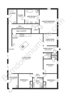 Barn Homes Floor Plans, Pole Barn House Plans, Pole Barn Homes, New House Plans, Dream House Plans, House Floor Plans, 40x60 House Plans, Floor Plan 4 Bedroom, 4 Bedroom House Plans