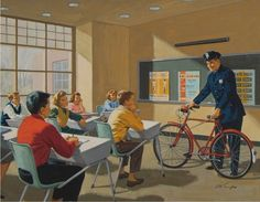 Police officer in classroom talking about bicycle safety. Calendar Illustration