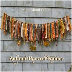 The Commons - Harvest fall ribbon garland How much water does a lawn really need? Rag Garland, Ribbon Garland, Fabric Garland, Fabric Yarn, Fall Bunting, Rag Banner, Kids Photo Props, Shabby Chic Fabric, Fall Harvest