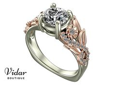 Flower Engagement Ring, Unique Engagement Ring, Two Tone Gold Ring By Vidar Botique, Rose Gold Engagement Ring, Leaves Ring, Vintage Floral Ring, Unique Diamond Engagement Ring, Unique Two Tone Gold Engagement Ring
