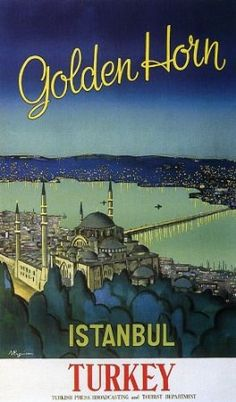 """Golden Horn Istanbul Turkey North Africa Arab Arabic Travel Tourism 9"""" X 16"""" Image Size Vintage Poster Reproduction"""